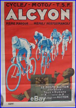 1 X Affiche Alcyon. Cycles / Motos / T. S. F. Format 58 X 40 Cm. Bel Etat