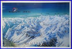 10 posters panoramas/plans des pistes de ski par Pierre Novat 1976-1996