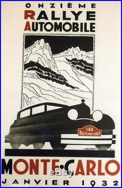 11ème RALLYE AUTOMOBILE MONTE-CARLO 1932 Affiche entoilée FALCUCCI 44x66cm