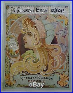1900/1910 LORENZY-PALANCA parfumerie Marseille AFFICHE ORIGINALE ANCIENNE/45a