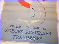 1944 Affiche ancienne originale ENGAGEZ VOUS FORCE AERIENNES Avion Aviation
