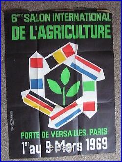 1969 AFFICHE 100%ORIGINALE SALON AGRICULTURE 1969 6e SALON INTERNAT. 160X120