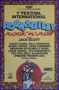 1er FESTIVAL INTERNATIONAL ROCKABILLY 1981 Affiche originale entoilée MARGERIN