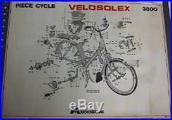 2 AFFICHEs ORIGINALEs éclatés garage VELOSOLEX SOLEX 3800 MOTOBECANE BP ZOOM