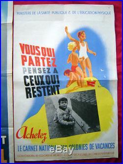 2 Affiches Anciennes Carnet National Colonies Vacances Ministère Santé TRAIN