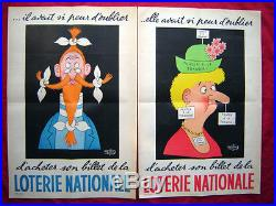 2 Affiches anciennes LOTERIE NATIONALE Signées DUBOUT