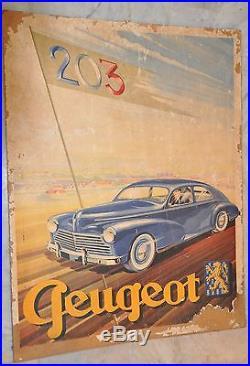 203 Peugeot. Rare affiche originale. Introuvable. Nostalgie