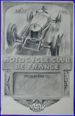 24. Motocycle Club De France. Geo Ham. 1 X Diplome. Format 32,4 X 50 CM