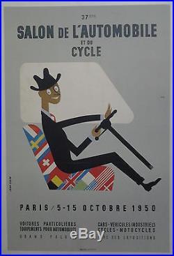 37e Salon de l'Auto et du Cycle1950 par J. Colin AFFICHE ANCIENNE ORIGINALE /AF6