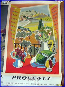 4 Affiches Chemin de Fer SNCF Normandie, Bretagne, Flandres, Provence Raoul Dufy