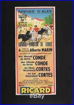 6 affichettes de CORRIDA aux arenes d'Alès 1968 a 1974 RICARD henry couve