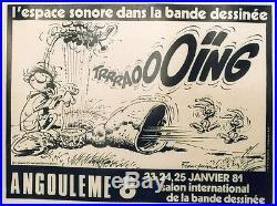 8ème SALON de la BD ANGOULÊME 1981 Affiche originale entoilée FRANQUIN 57x44cm