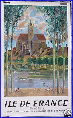 A. RAMBOURG AFFICHE ANCIENNE 1958 SNCF ILE DE FRANCE Litho