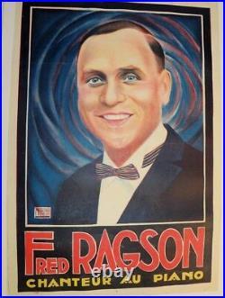 AFFICHE 1900 Fred RAGSON CHANTEUR PIANO NICOLITCH FRAGSON CABARET MUSIC HALL