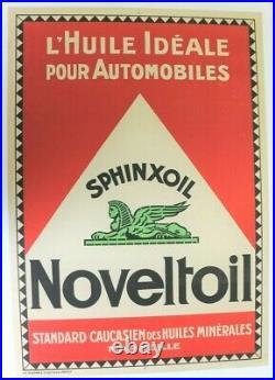 AFFICHE 1920 HUILE AUTO MINERALE NOVELTOIL SPHINXOIL CAUCASIEN MARSEILLE litho