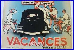 AFFICHE 1953 CITROEN TRACTION ZAZOU SCOUT MOTO CYCLO TOURISME VACANCES à L'EST