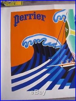 AFFICHE 64.5 x 49 cm PERRIER / VILLEMOT VAGUES