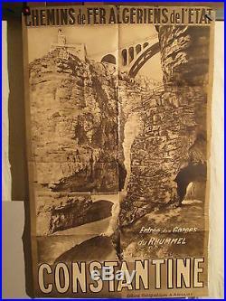 AFFICHE ALGERIE CONSTANTINE gorges du Rhummel PHOTO SEPIA