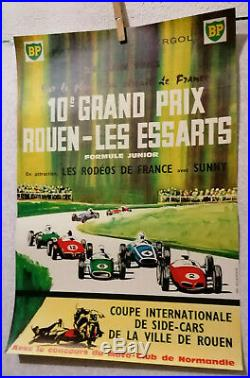 AFFICHE ANCIENNE 10e GRAND PRIX ROUEN LES ESSARTS AUTOMOBILE 1963