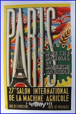AFFICHE ANCIENNE 1955 PARIS 27e SALON MACHINE AGRICOLE TOUR EIFFEL TRACTEUR