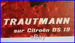 AFFICHE ANCIENNE 1963 CITROEN DS 19 René TRAUTMANN Huile Bidon YACCO