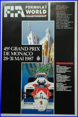 AFFICHE ANCIENNE 45e GRAND PRIX AUTOMOBILE MONACO MONTE CARLO 1987 BORGHERESI