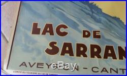 AFFICHE ANCIENNE ALO CHEMINS DE FER PARIS MIDI LAC DE SARRANS AVEYRON CANTAL LOT