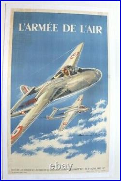 AFFICHE ANCIENNE ARMEE DE L'AIR Paul Lengellé 1950 AVION VAMPIRE MISTRAL HISPANO