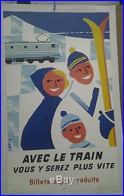 AFFICHE ANCIENNE AVEC LE TRAIN SKI VACANCE DE NEIGE SPORT HIVER STIS 1958