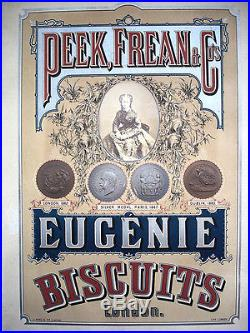 AFFICHE ANCIENNE BISCUITS EUGENIE PORTRAIT IMPERATRICE EUGENIE MEDAILLES EXPO
