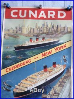 AFFICHE ANCIENNE Bateau CUNARD Cherbourg New York