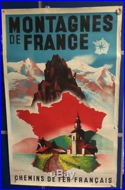 AFFICHE ANCIENNE CHEMINS DE FER FRANCAIS montagnes de France rare