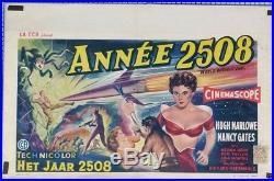 AFFICHE ANCIENNE CINEMA FILM ANNÉE 2508 HUGH MARLOW NANCY GATES circa 1956
