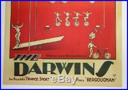 AFFICHE ANCIENNE CIRQUE CYCLISTE VELO DARWIN'S pneu BERGOUGNAN HARFORD 1920-30