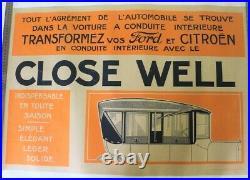 AFFICHE ANCIENNE CITROEN & FORD 1925 CLOSE WELL accessoire cabrio torpédo fermé