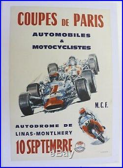 AFFICHE ANCIENNE COUPE de PARIS CIRCUIT MONTLHERY 10 SEPT AUTO MOTO CLUB FRANCE