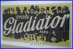 AFFICHE ANCIENNE CYCLE GLADIATOR VELO FEMMES 1900 PARIS