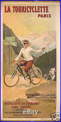 AFFICHE ANCIENNE CYCLES LA TOURICYCLETTE COL DU TOURMALET circa 1902