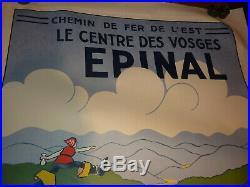 AFFICHE ANCIENNE Chemin de Fer de l'Est / Le centre des Vosges EPINAL chat botté