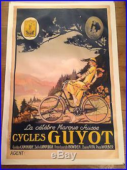 AFFICHE ANCIENNE ENTOILEE CYCLES GUYOT LA CELEBRE MARQUE SUISSE1915 no copy