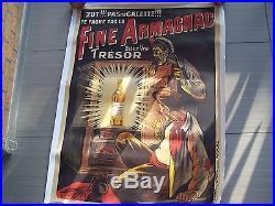 AFFICHE ANCIENNE ENTOILEE ORIGINAL DE 1913 FINE ARMAGNAC TRESOR PAR OGE