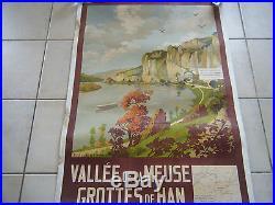 AFFICHE ANCIENNE ENTOILEE VALLEE DE LA MEUSE GROTTES DE HAN