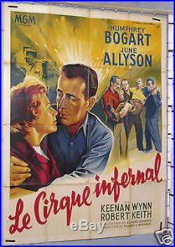AFFICHE ANCIENNE FILM LE CIRQUE INFERNAL H. BOGART circa 1953