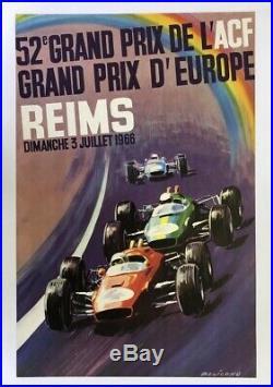 AFFICHE ANCIENNE GRAND PRIX ACF REIMS 3 juillet 1966 BELIGOND gd prix Europe