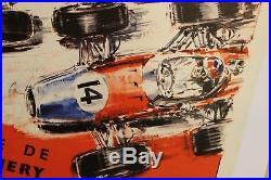 AFFICHE ANCIENNE Grand Prix PARIS Linas Monthléry 1968 no Géo Ham Béligond TOTAL