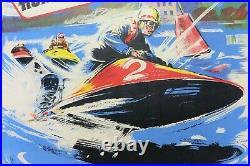 AFFICHE ANCIENNE HORS-BORD BESSIERES 31 Champ. France 1959 MOTONAUTISME OFF-SHORE