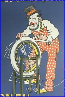 AFFICHE ANCIENNE HUTCHINSON Rémouleur signée MICH bleue litho 1980 d'origine