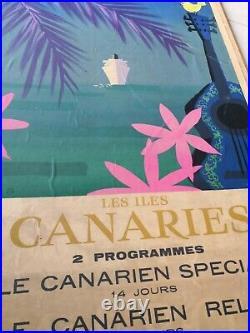 AFFICHE ANCIENNE ILES CANARIES ESPAGNE Cie NAVIGATION PAQUET Marseille