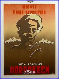 AFFICHE ANCIENNE LITHOGRAPHIQUE 1952 Foire de MARRAKECH par Dominici entoilée