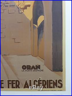 AFFICHE ANCIENNE LITHOGRAPHIQUE ORAN Porte d'Espagne par Koenig 1948